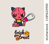 halloween stitch zombie kitty... | Shutterstock .eps vector #1189624900