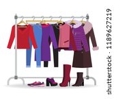 clothes hanger with different... | Shutterstock .eps vector #1189627219