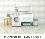 white bathroom with washing... | Shutterstock . vector #1189647016