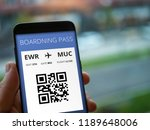 mobile boardning pass in cell... | Shutterstock . vector #1189648006
