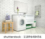 white bathroom with washing... | Shutterstock . vector #1189648456