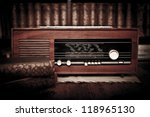 Old Radio In A Room With Books