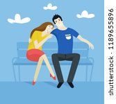 loving couple sitting on the... | Shutterstock .eps vector #1189655896