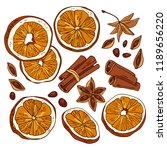 spices for mulled wine   anise  ... | Shutterstock .eps vector #1189656220