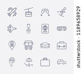 outline 16 vacation icon set.... | Shutterstock .eps vector #1189658929