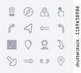 outline 16 direction icon set.... | Shutterstock .eps vector #1189658986