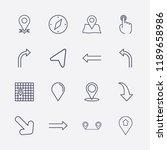 outline 16 direction icon set.... | Shutterstock .eps vector #1189658986
