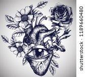 blooming anatomical human heart ...   Shutterstock .eps vector #1189660480