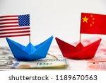 us america flag on blue ship... | Shutterstock . vector #1189670563
