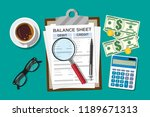 clipboard with balance sheet... | Shutterstock .eps vector #1189671313