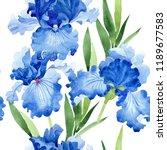 watercolor blue iris flower.... | Shutterstock . vector #1189677583