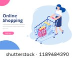 isometric woman with shopping... | Shutterstock .eps vector #1189684390