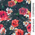 Stock photo watercolor seamless pattern with blossom roses opulent botanical illustration in vintage style 1189688446