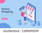 isometric woman with shopping... | Shutterstock .eps vector #1189690249