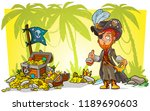 cartoon bearded pirate... | Shutterstock .eps vector #1189690603
