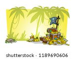 cartoon treasure chest with... | Shutterstock .eps vector #1189690606