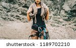 sporty woman wearing in safety... | Shutterstock . vector #1189702210