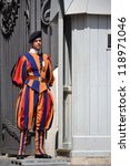 Small photo of ROME, ITALY - JULY 11: Vatican guard stands in front of Saint Peter's Basilica on 11 July 2012 in Vatican, Rome, Italy. The Vatican says it cannot rescind papal knighthood awarded to Jimmy Savile.