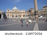 Small photo of ROME, ITALY - JULY 11: Tourists in front of the Saint Peter's Basilica on 11 July 2012 in Vatican, Rome, Italy. The Vatican says it cannot rescind papal knighthood awarded to Jimmy Savile.