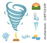 different weather cartoon icons ... | Shutterstock .eps vector #1189722109