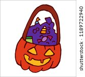 a pumpkin with sweets  candies  ... | Shutterstock .eps vector #1189722940