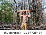 lumberjack or woodman sexy... | Shutterstock . vector #1189725499