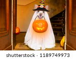 dog sitting as a ghost for... | Shutterstock . vector #1189749973