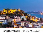 lisbon city skyline at twilight ... | Shutterstock . vector #1189750660