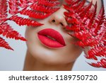 a woman with sensual red lips... | Shutterstock . vector #1189750720