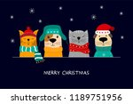 Stock vector  merry christmas illustration of cute cats and funny dogs 1189751956