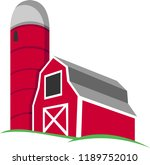 red barn and farm silo vector | Shutterstock .eps vector #1189752010