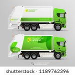 realistic garbage waste truck... | Shutterstock .eps vector #1189762396