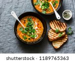 curried red lentil tomato and...   Shutterstock . vector #1189765363