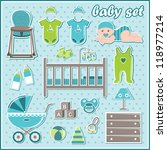 set of baby boy things. vector | Shutterstock .eps vector #118977214