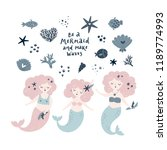 mermaid vector set with cute... | Shutterstock .eps vector #1189774993