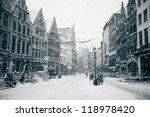 Antwerp At Winter Snowstorm....