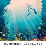 silhouette of scuba diver ...   Shutterstock . vector #1189817596