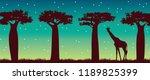 silhouette of giraffe and...   Shutterstock . vector #1189825399
