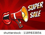 open female mouth and megaphone ... | Shutterstock .eps vector #1189833856