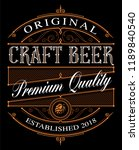 vintage craft beer label... | Shutterstock .eps vector #1189840540