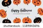 set of halloween scary pumpkins ... | Shutterstock .eps vector #1189843696