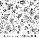 paisley watercolor floral...   Shutterstock . vector #1189862803