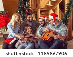 group of friends sitting on the ... | Shutterstock . vector #1189867906
