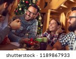 group of friends sitting on the ... | Shutterstock . vector #1189867933