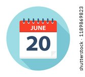 june 20   calendar icon  ... | Shutterstock .eps vector #1189869823