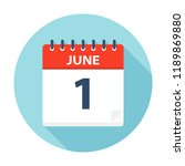june 1   calendar icon   vector ... | Shutterstock .eps vector #1189869880