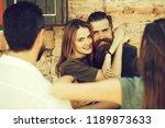 couple of handsome bearded man... | Shutterstock . vector #1189873633