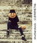 young halloween woman or girl... | Shutterstock . vector #1189898746