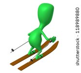 Behind view green puppet glide through snowy mountine - stock photo