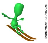 Angle view green puppet glide without hand sticks - stock photo